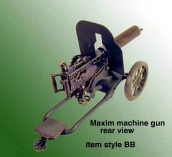 German Maxim machine gun on cart