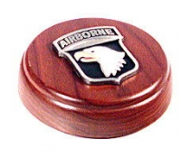 101st Airborne emblem on walnut wood