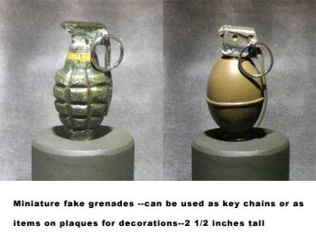 "miniature fake grenades 2 1/2"" tall"