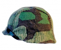 Helmet with woodland camo cover
