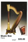 "miniature Harp ( music box ) 10"" high"