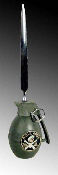 Grenade letter opener stand alone upright