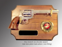 six shooter award plaque ( gun is full size)