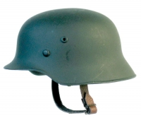 Helmet green plain metal