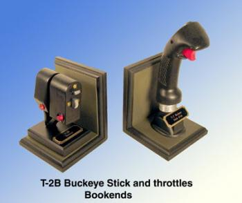 T-2B Buckeye throttle and stick bookends
