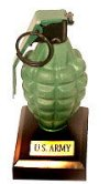 Grenade as paper weight (U.S. Army)