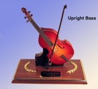 miniature Upright Bass on wood base