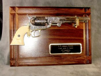 wild west six shooter plaque