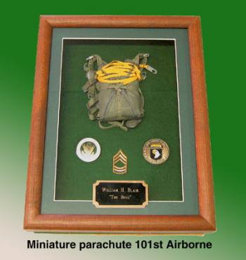 101st Airborne miniature parachute shadow box