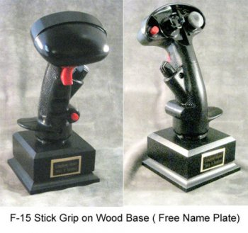 fighter aircraft stick grip on flat Rosewood base