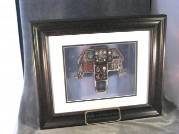 F-16 instrument panel in shadow box