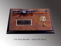 Sniper award on burl wood plaque M82A1