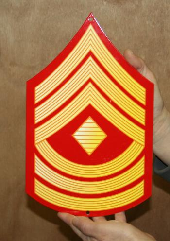 USMC E8 First Sgt rank Red & Gold metal sign