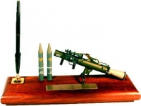 US rocket launcher on wood