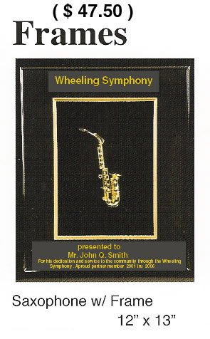 Picture frame with Miniature Saxophone