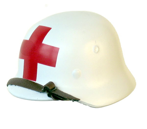 Medic helmet (white) single red cross - Click Image to Close