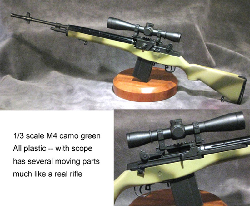 1/3 scale m-14 rifle green camo with scope - Click Image to Close