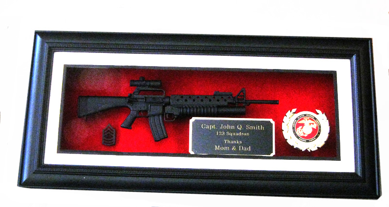Award 1/3 scale M-16 w/m203 & scope ( Shadow Box) - Click Image to Close
