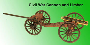 Civil War Cannon with limber