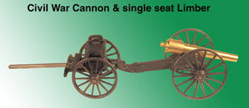 Civil War Cannon with single seat limber