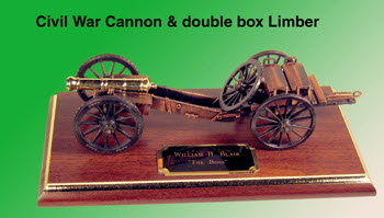 Civil War Cannon with double box limber