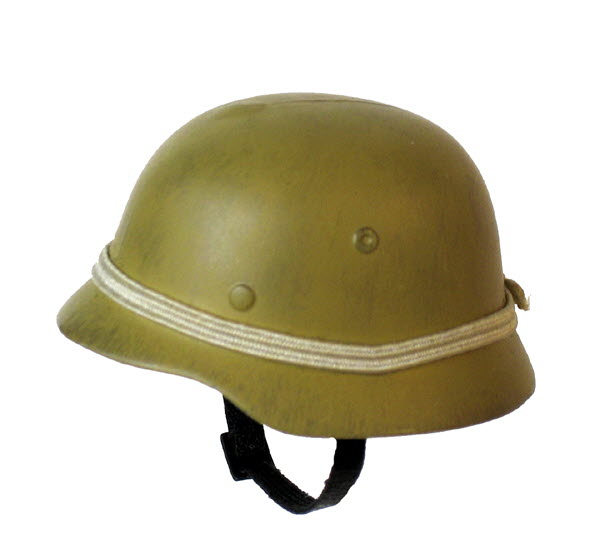 WW2 tan helmet with band - Click Image to Close