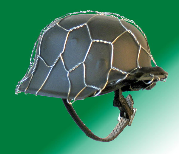 Green helmet with wire camo - Click Image to Close