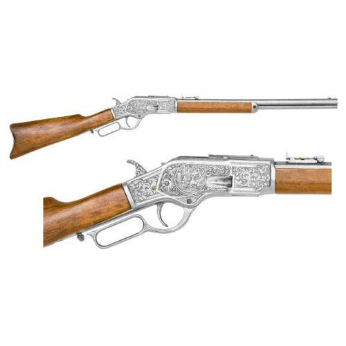M1873 lever action silver engraved - Click Image to Close