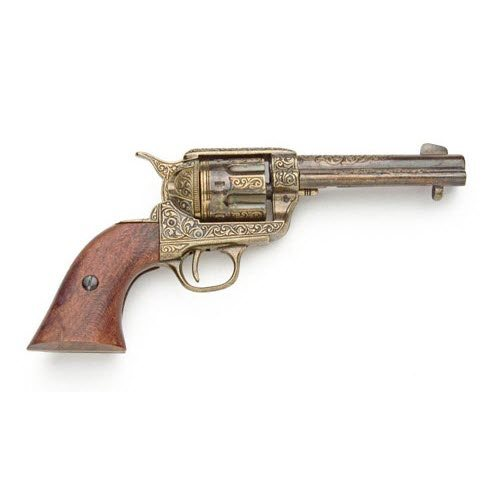 Fast Draw single action Western pistol / gold engraving - Click Image to Close
