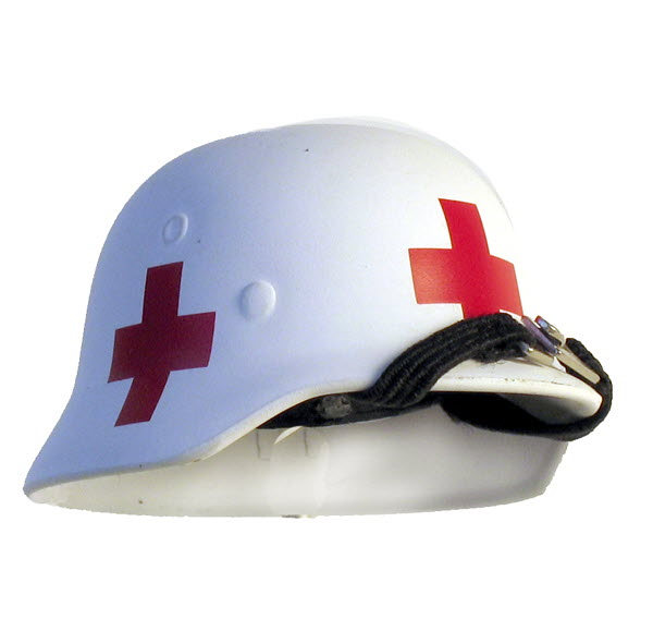 Medic helmet (white) 4 sided red cross's - Click Image to Close