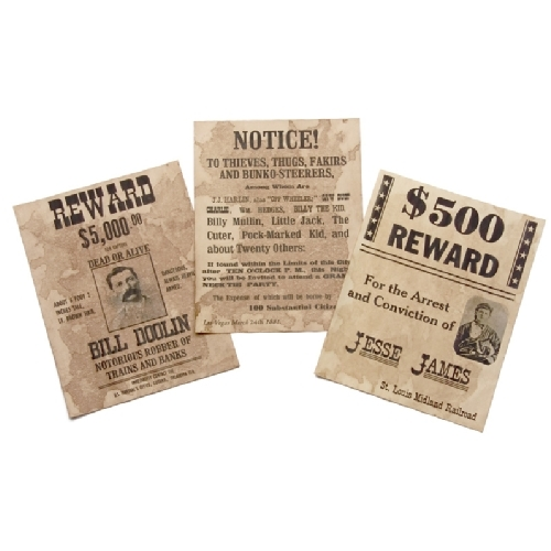 Old West Reward posters ( set of 3 ) - Click Image to Close