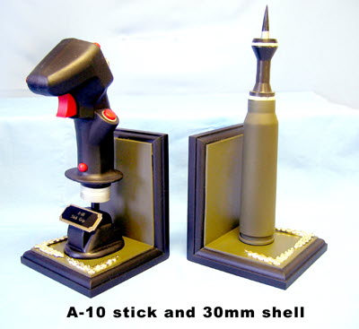 A-10 Stick Grip & A-10 shell mounted on book ends - Click Image to Close