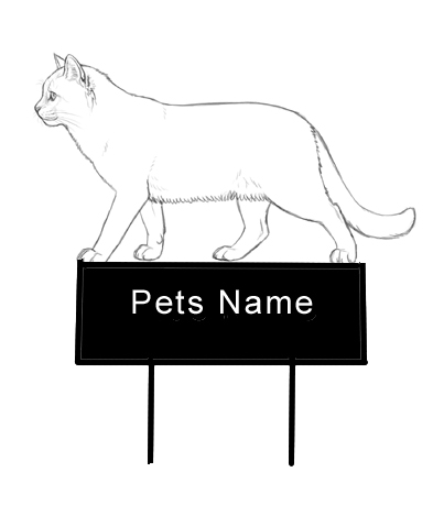 walking Cat Grave Marker - Click Image to Close