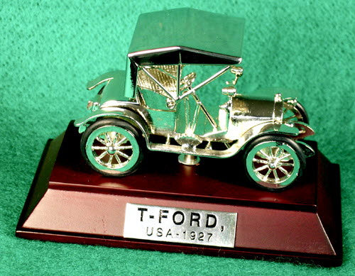 1927 Model T Ford ( Chrome) on wood base - Click Image to Close