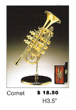 Miniature Musical Instrument Coronet 3.5""