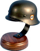 German 1/2 scale helmet on wood