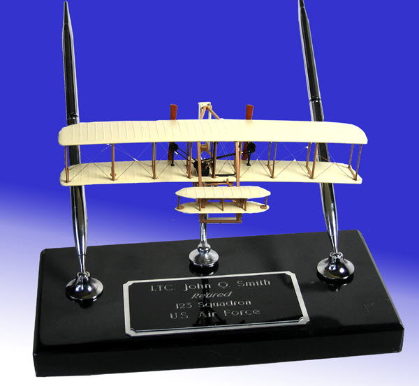 Wright Bros model on black marble base - Click Image to Close
