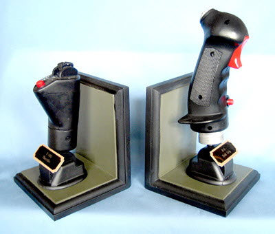 F-100 fighter bomber stick & throttle on bookends - Click Image to Close