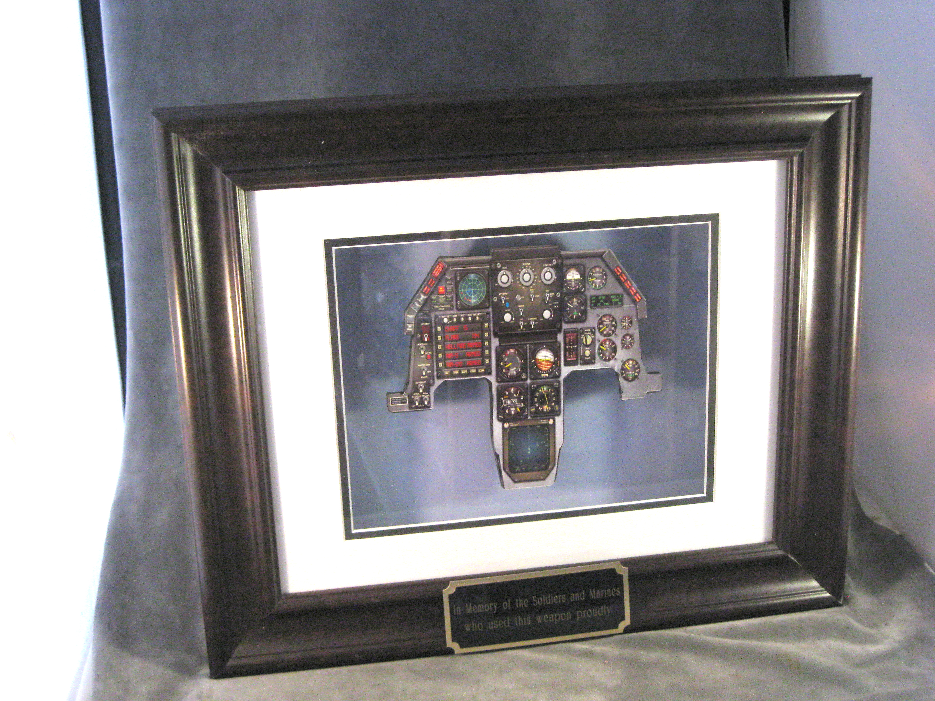 F-16 instrument panel in shadow box - Click Image to Close