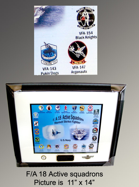 Picture frame and poster F/A 18 current sq's - Click Image to Close
