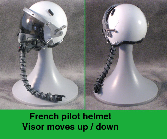 French pilot helmet / moveable visor / plain white - Click Image to Close