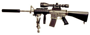 M16 W/mil spec scope & silencer & spring loaded bipod - Click Image to Close
