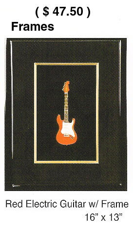 Wood picture shadow box frame with miniature elec guitar