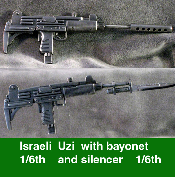 Israeli Uzi Machine pistol w/silencer & bayonet ALL Metal - Click Image to Close