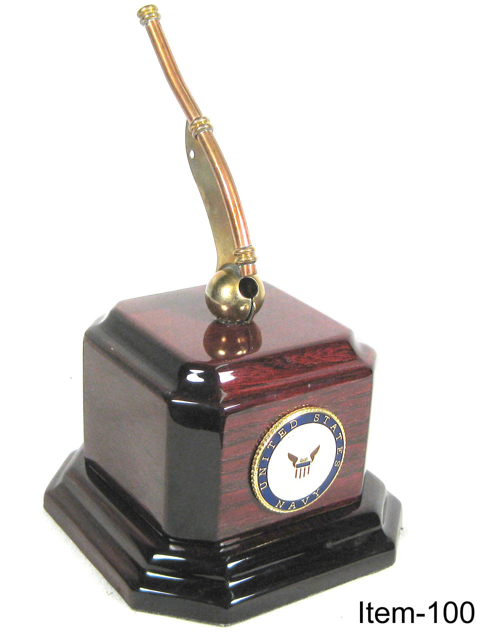 U.S.Navy Boswains whistle on rosewood base - Click Image to Close