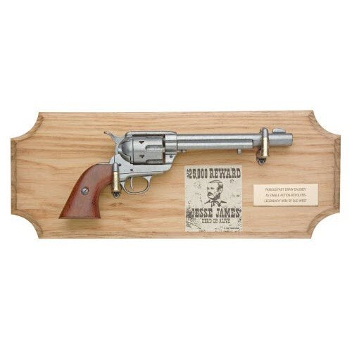 Jesse James six shooter ( framed ) metal - Click Image to Close