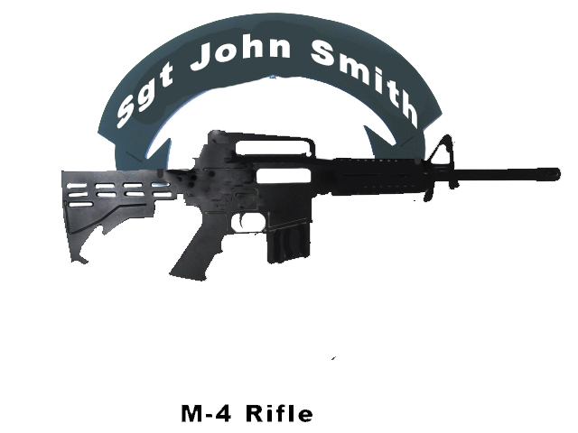 M-4 rifle outline cut out metal - Click Image to Close