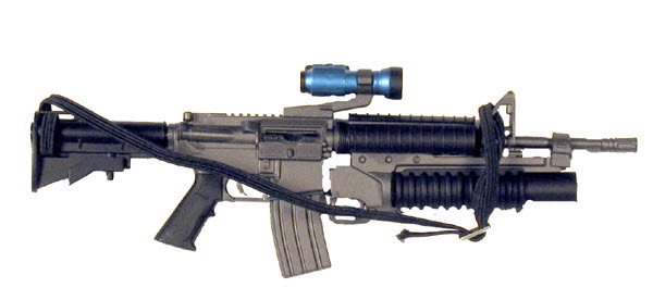U.S. M-4 w/M203 and flash light top mounted - Click Image to Close