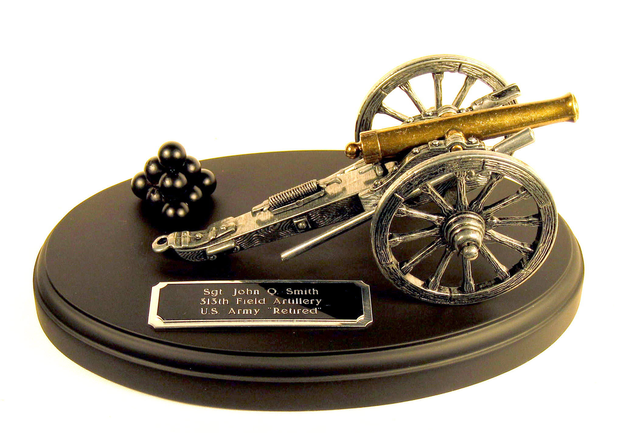old time cannon on black wood base - Click Image to Close