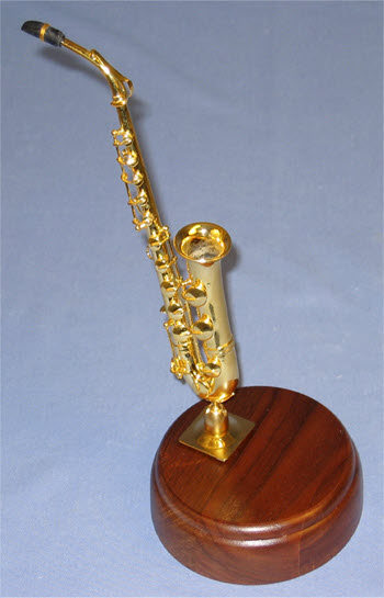 miniature sax on rd wood base